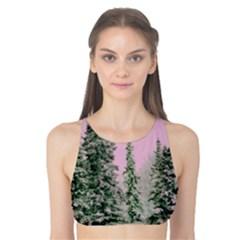 Winter Trees Pink Tank Bikini Top