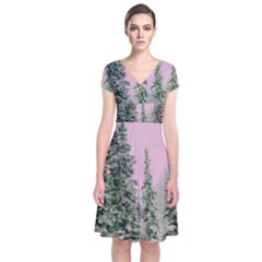 Winter Trees Pink Short Sleeve Front Wrap Dress