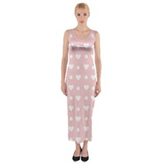 Hearts Dots Pink Fitted Maxi Dress
