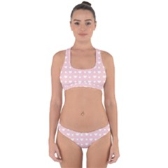 Hearts Dots Pink Cross Back Hipster Bikini Set