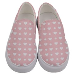 Hearts Dots Pink Men s Canvas Slip Ons