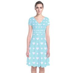 Hearts Dots Blue Short Sleeve Front Wrap Dress