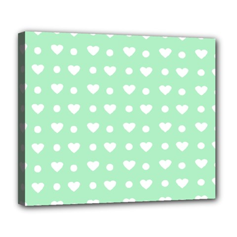 Hearts Dots Green Deluxe Canvas 24  X 20