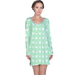 Hearts Dots Green Long Sleeve Nightdress