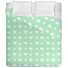 Hearts Dots Green Duvet Cover Double Side (california King Size) by snowwhitegirl