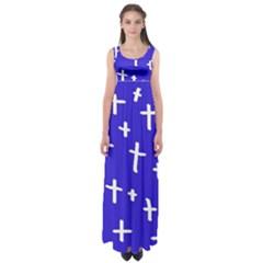 Blue White Cross Empire Waist Maxi Dress