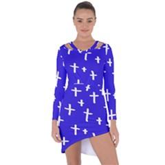 Blue White Cross Asymmetric Cut Out Shift Dress