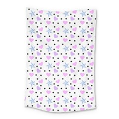 Hearts And Star Dot White Small Tapestry