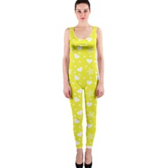 Hearts And Star Dot Yellow One Piece Catsuit