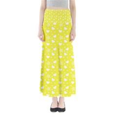 Hearts And Star Dot Yellow Full Length Maxi Skirt