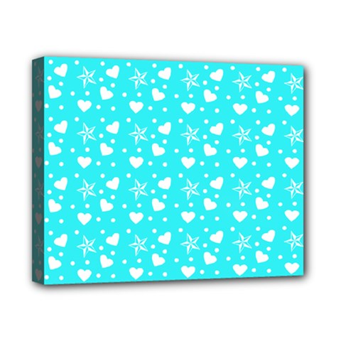 Hearts And Star Dot Blue Canvas 10  X 8