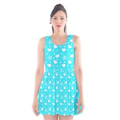 Hearts And Star Dot Blue Scoop Neck Skater Dress