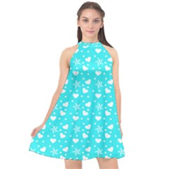 Hearts And Star Dot Blue Halter Neckline Chiffon Dress