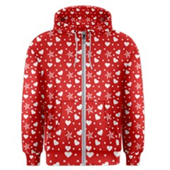 Hearts And Star Dot Red Men s Zipper Hoodie