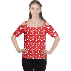 Hearts And Star Dot Red Cutout Shoulder Tee