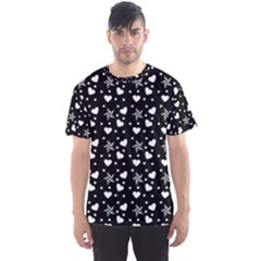Hearts And Star Dot Black Men s Sports Mesh Tee