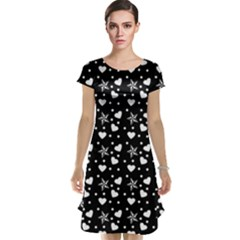 Hearts And Star Dot Black Cap Sleeve Nightdress
