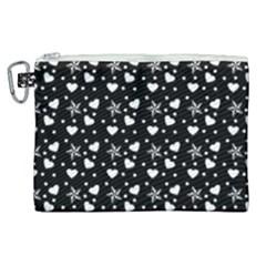 Hearts And Star Dot Black Canvas Cosmetic Bag (xl) by snowwhitegirl