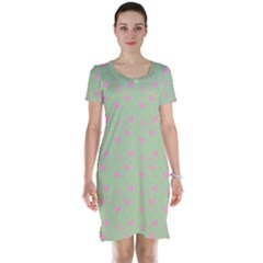 Hearts And Star Dot Green Short Sleeve Nightdress