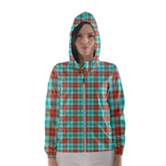 Aqua Orange Plaid Hooded Windbreaker (women)