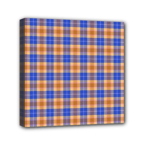 Orange Blue Plaid Mini Canvas 6  X 6