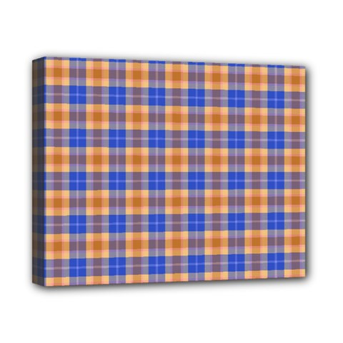 Orange Blue Plaid Canvas 10  X 8  by snowwhitegirl