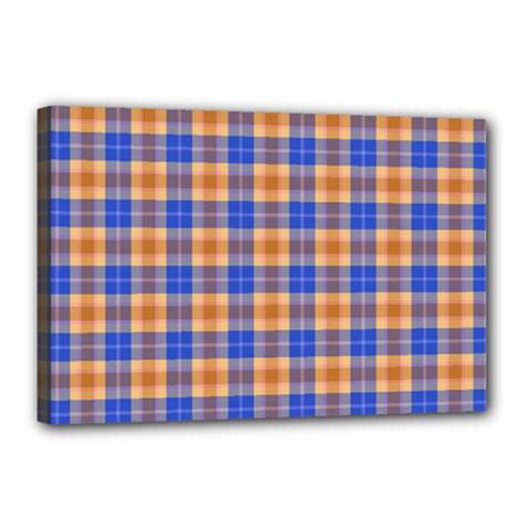 Orange Blue Plaid Canvas 18  X 12