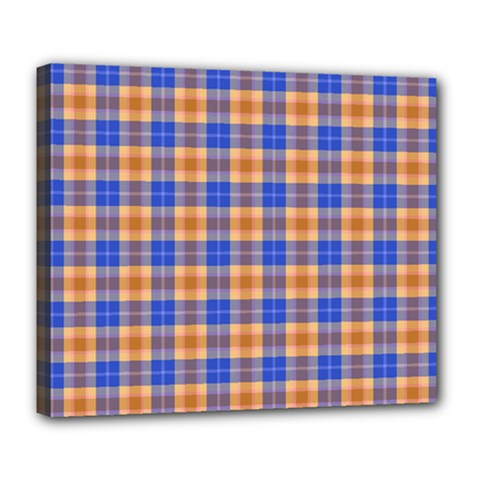 Orange Blue Plaid Deluxe Canvas 24  X 20