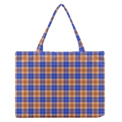 Orange Blue Plaid Zipper Medium Tote Bag