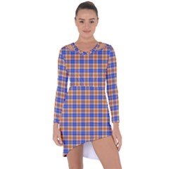 Orange Blue Plaid Asymmetric Cut Out Shift Dress
