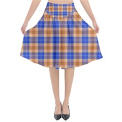 Orange Blue Plaid Flared Midi Skirt