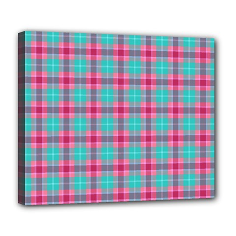 Blue Pink Plaid Deluxe Canvas 24  X 20