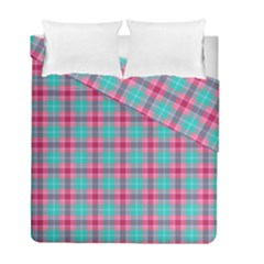 Blue Pink Plaid Duvet Cover Double Side (full/ Double Size)