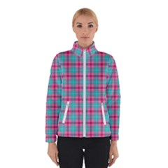 Blue Pink Plaid Winter Jacket