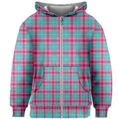 Blue Pink Plaid Kids Zipper Hoodie Without Drawstring