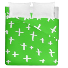 Green White Cross Duvet Cover Double Side (queen Size)