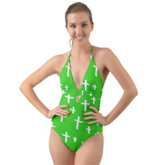Green White Cross Halter Cut Out One Piece Swimsuit