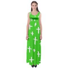 Green White Cross Empire Waist Maxi Dress