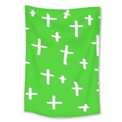 Green White Cross Large Tapestry