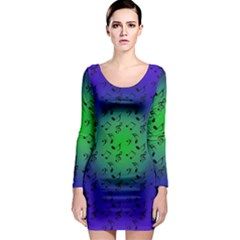 Blue Music Green Moon Long Sleeve Bodycon Dress