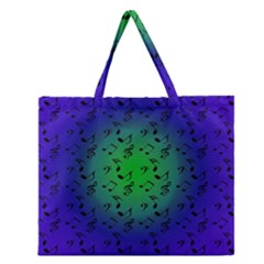 Blue Music Green Moon Zipper Large Tote Bag