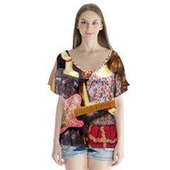 Playing The Guitar V Neck Flutter Sleeve Top