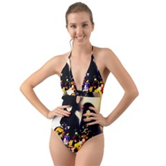 Old Halloween Photo Halter Cut Out One Piece Swimsuit