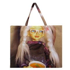 Eating Lunch Zipper Large Tote Bag