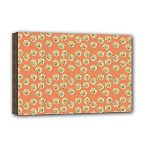 Antique Flowers Peach Deluxe Canvas 18  X 12   by snowwhitegirl