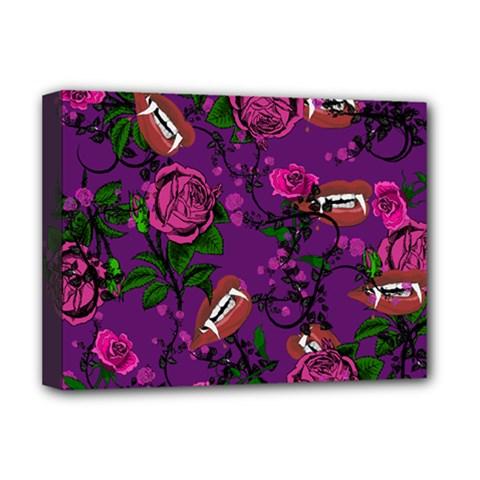 Purple  Rose Vampire Deluxe Canvas 16  X 12   by snowwhitegirl
