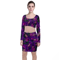 Purple  Rose Vampire Long Sleeve Crop Top & Bodycon Skirt Set