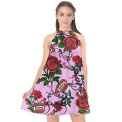 Pink Rose Vampire Halter Neckline Chiffon Dress