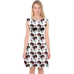 Redhead Girl Pattern Capsleeve Midi Dress
