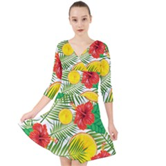 Orange Tropics Quarter Sleeve Front Wrap Dress